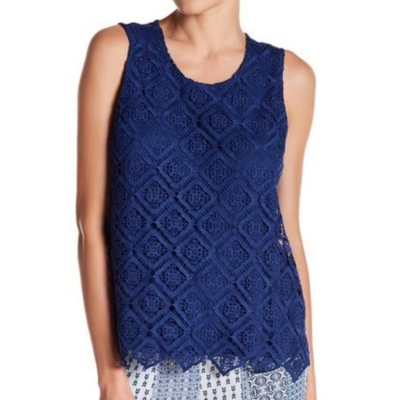 Nanette Lepore Tops - Nanette Lepore Blue Lace Sleeveless Top